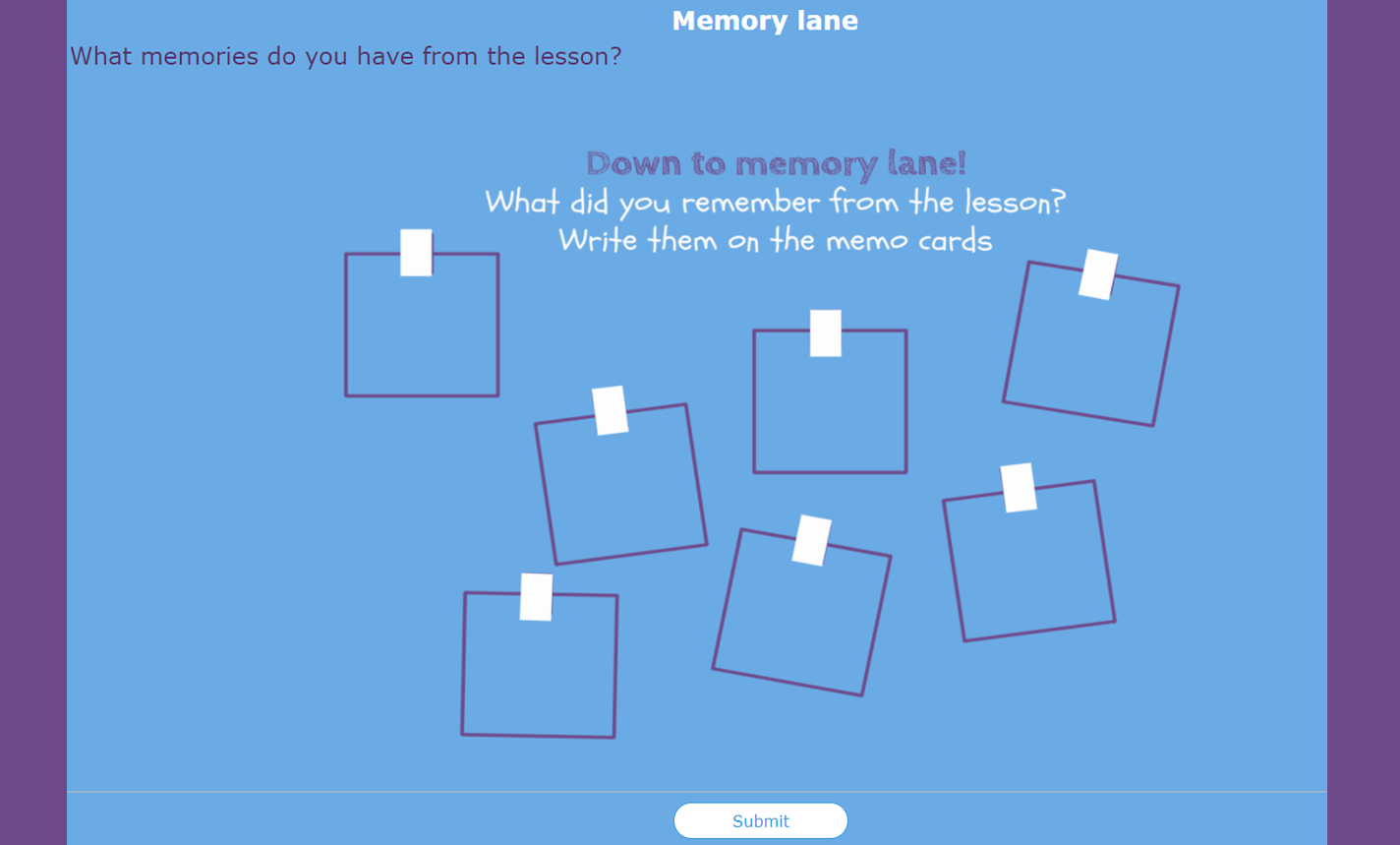 digital exit ticket - Memory lane