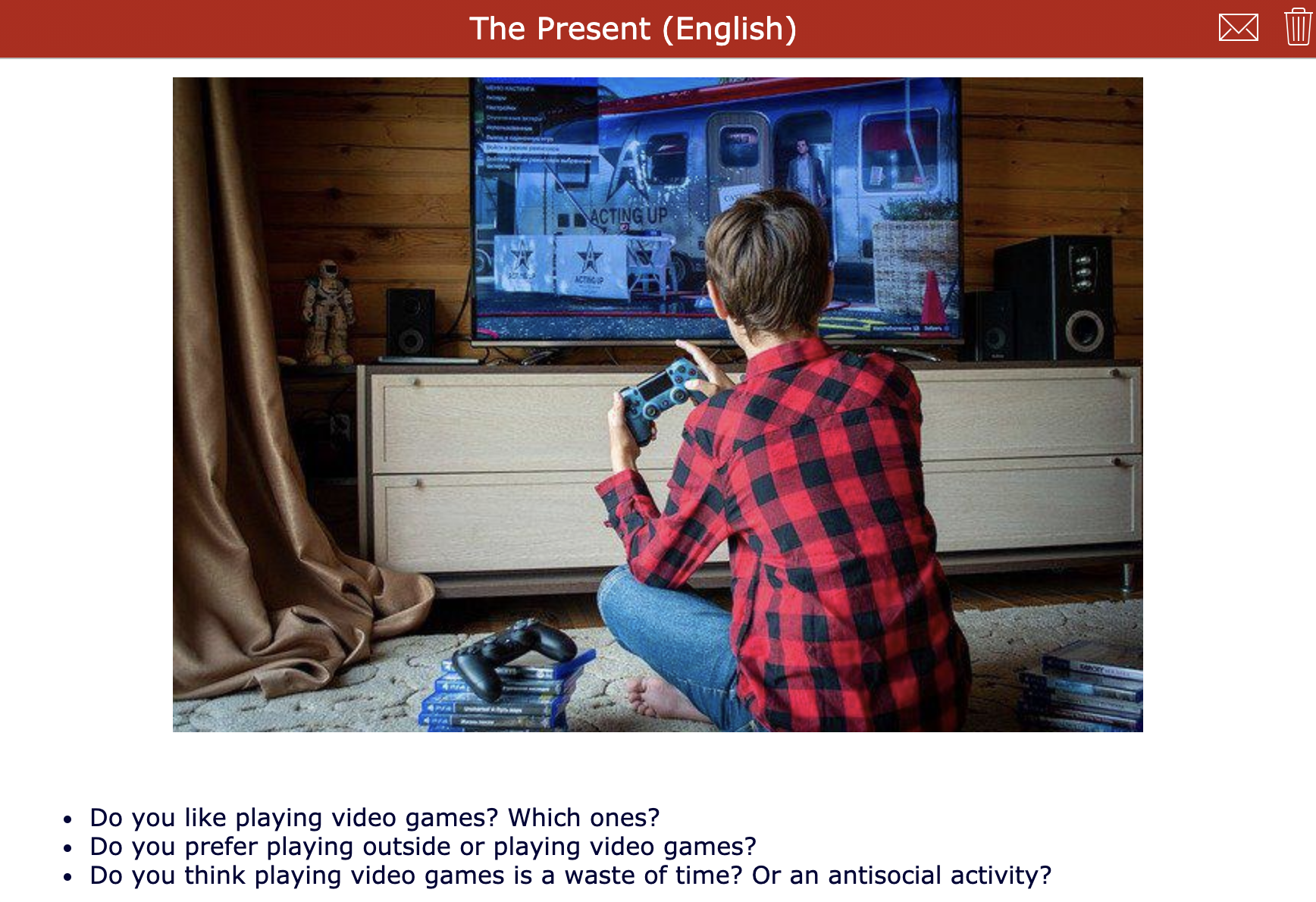 short films - The present - english listening comprehension activity