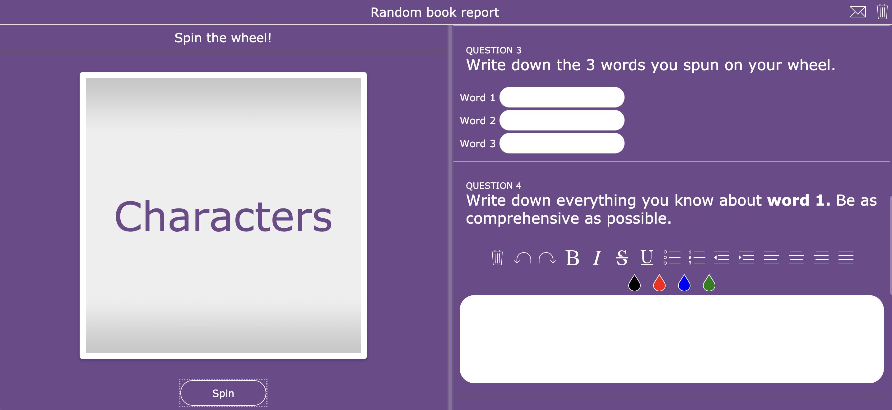 Creative book report - bookworm