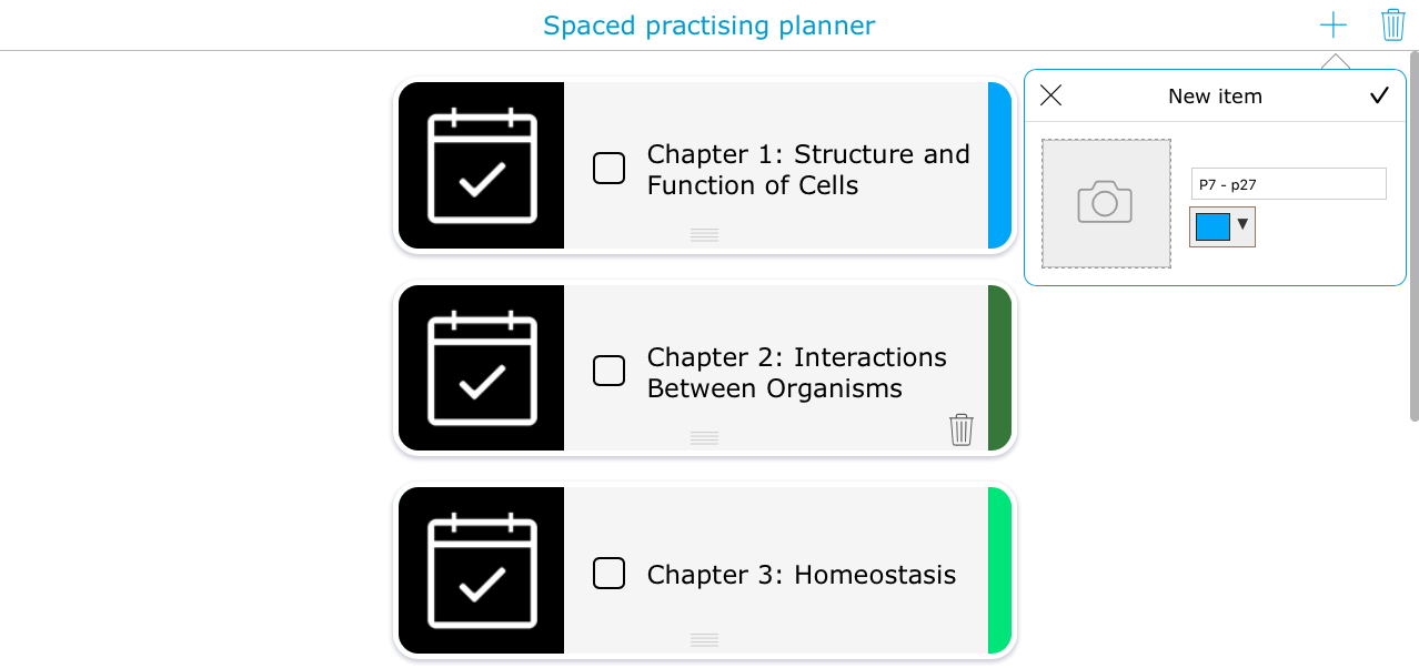 Spaced practice planner widget