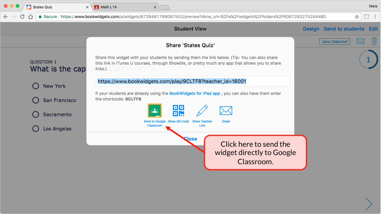 Sharing Bookwodgets in the new Google Classroom