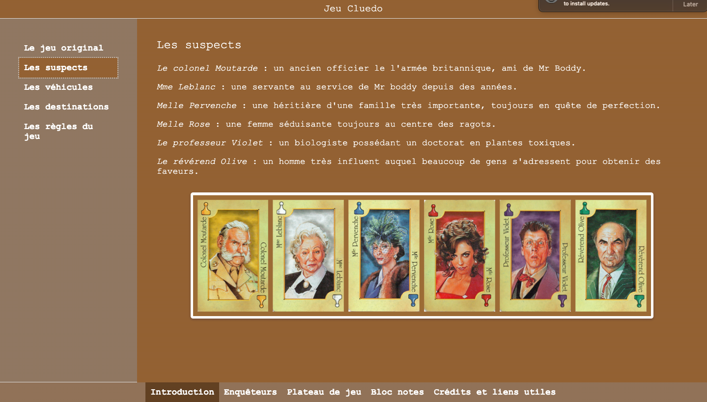 Digitale French Cluedo game