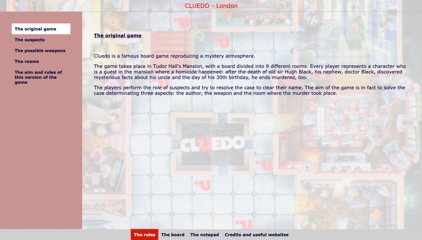 Digital cluedo - English