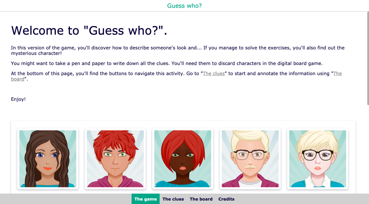 Digital Guess who?! game for students
