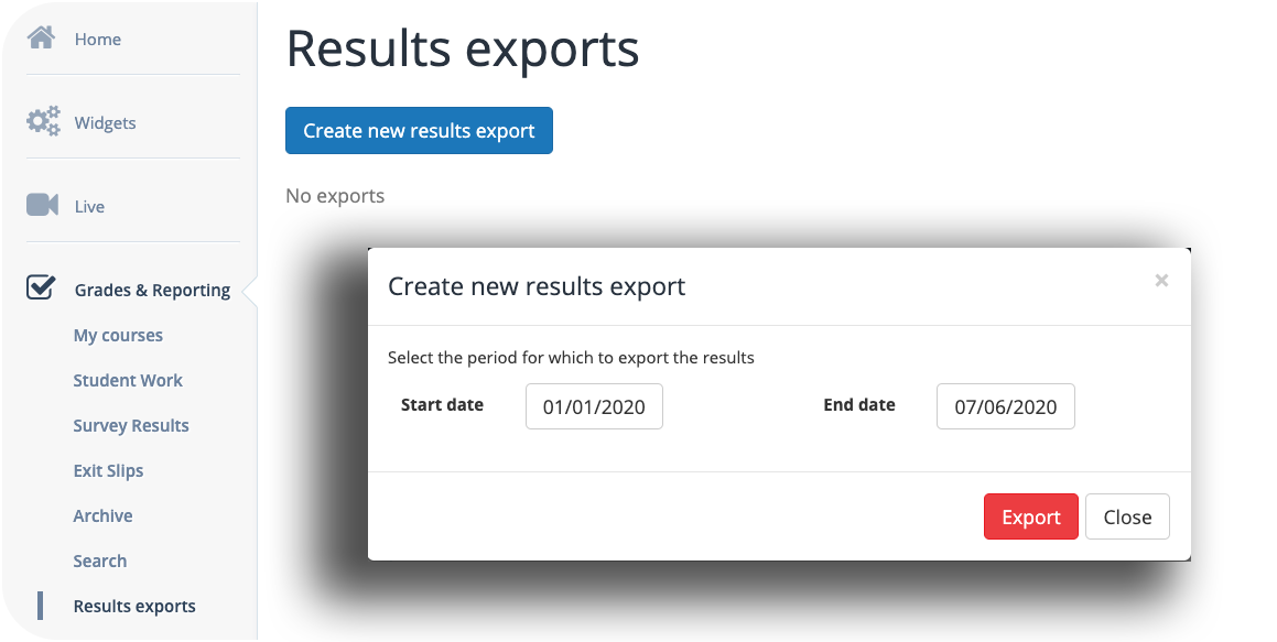 Export results from BookWidgets