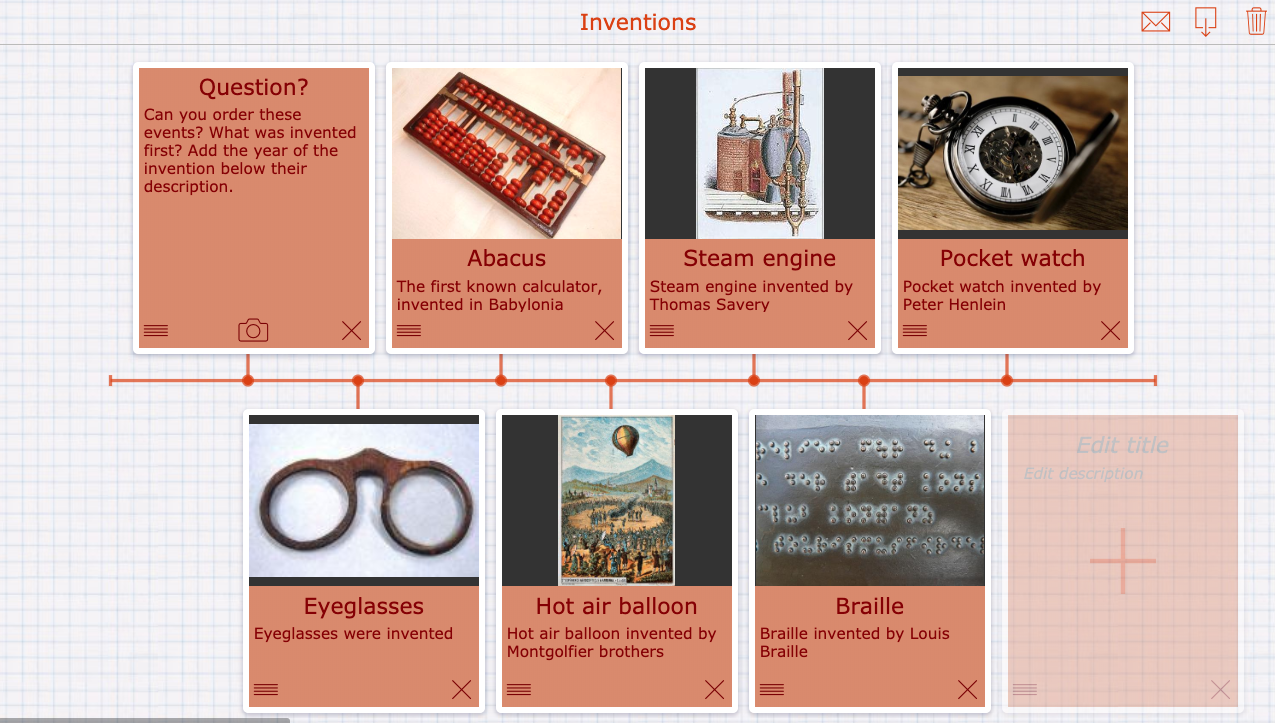Famous inventions - timeline for primary school