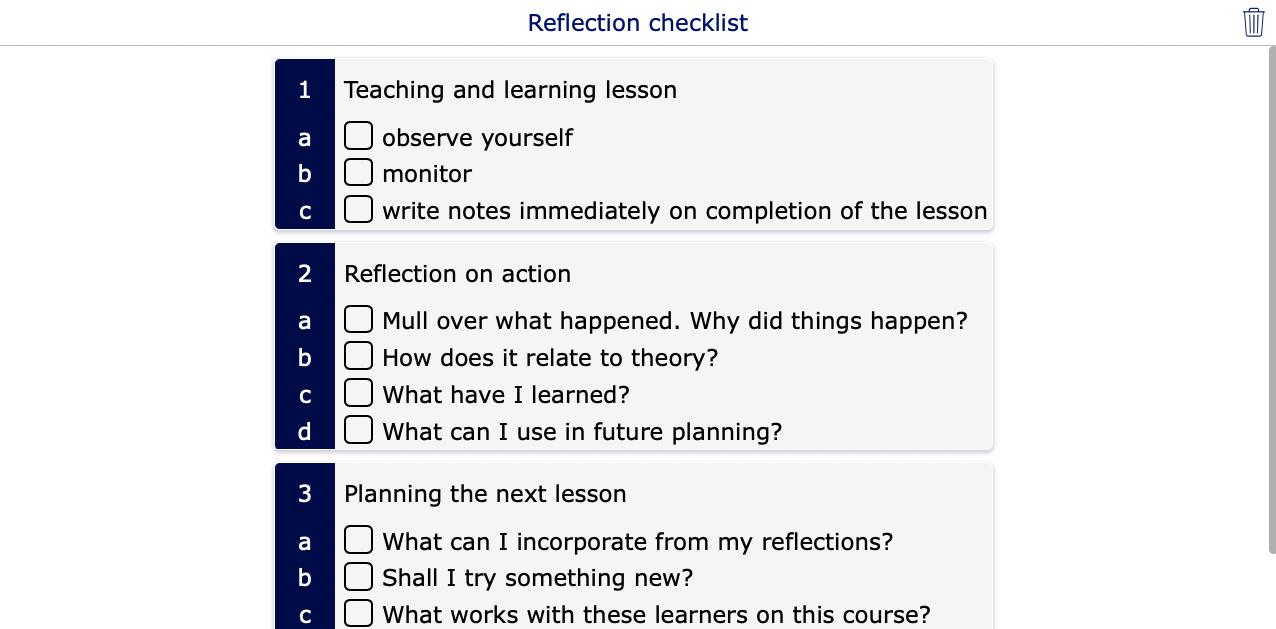 Reflection checklist