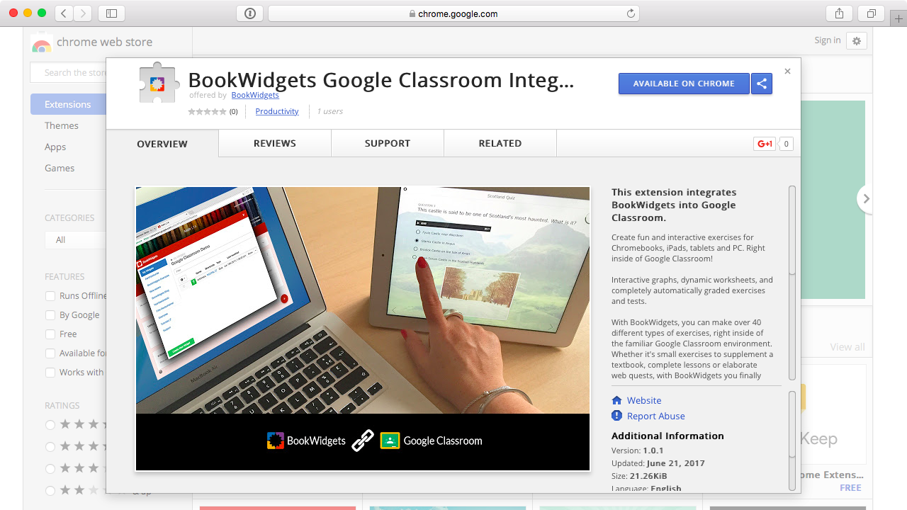 Bookwidgets Chrome Plugin for Google Classroom