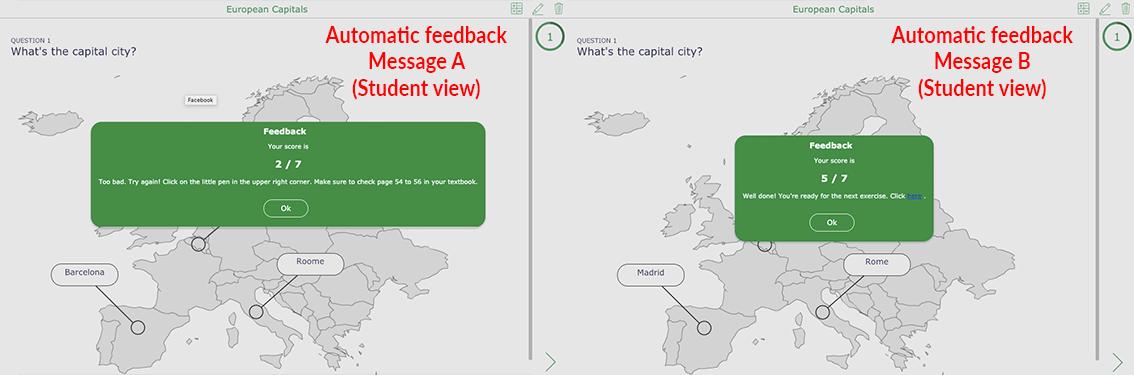 Automatic feedback with BookWidgets