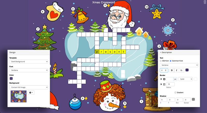 digital crossword puzzle Christmas