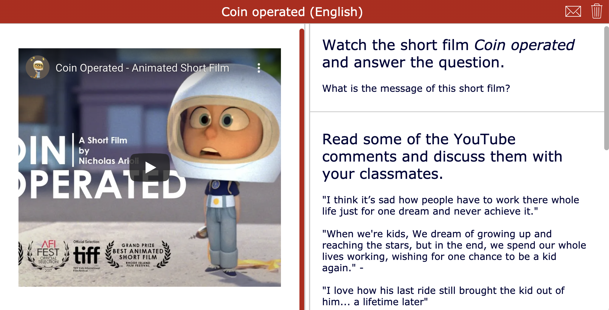 Short film - Coin operated - Youtube comments lesson activity