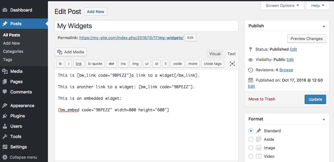 Adding a BookWidgets widget to a WordPress page