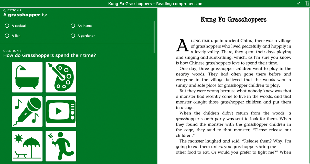Reading exercises - Kung Fu Grasshoppers