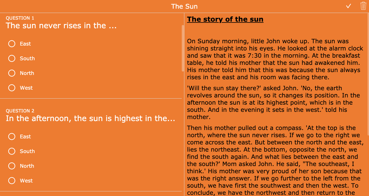 Split worksheet about the sun - primary school