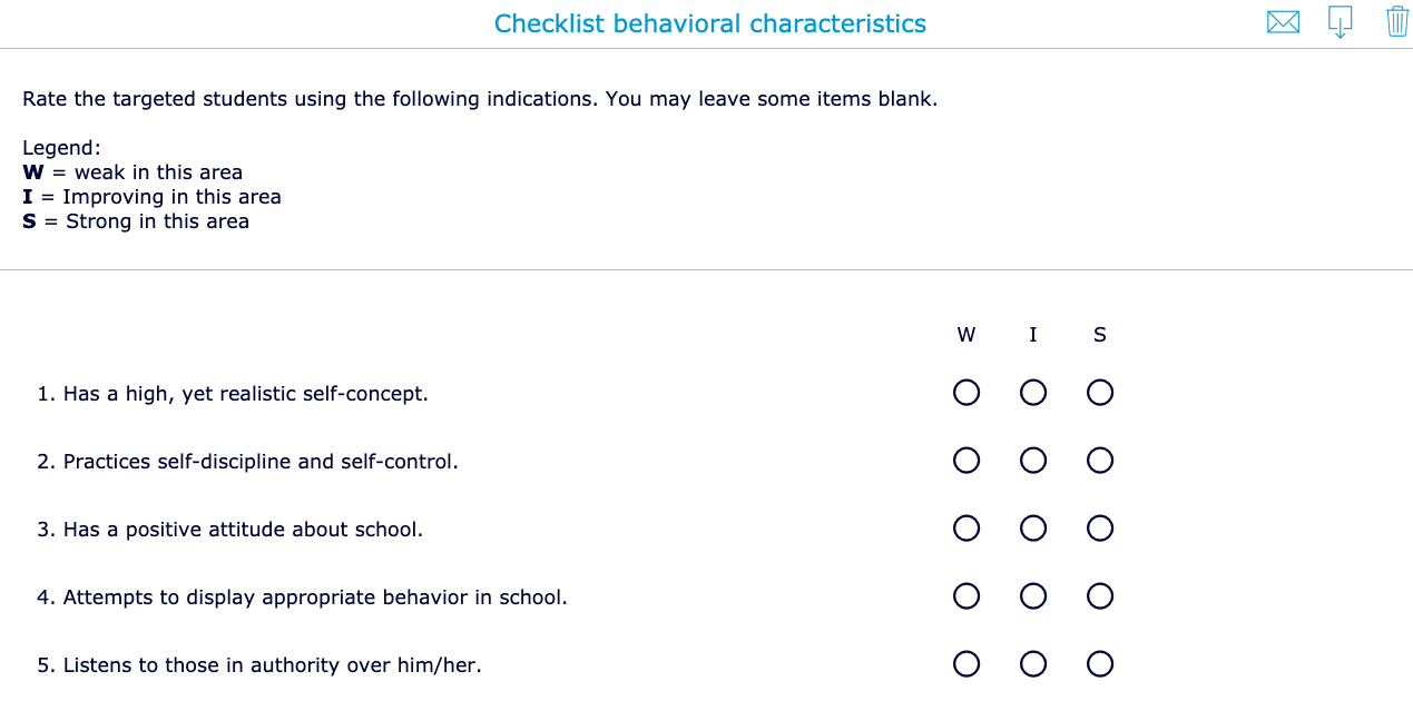Behavioral characteristics Checklist for underachievers