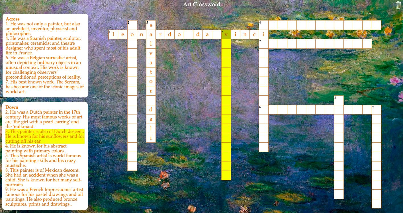 Art crossword riddle - famous artists