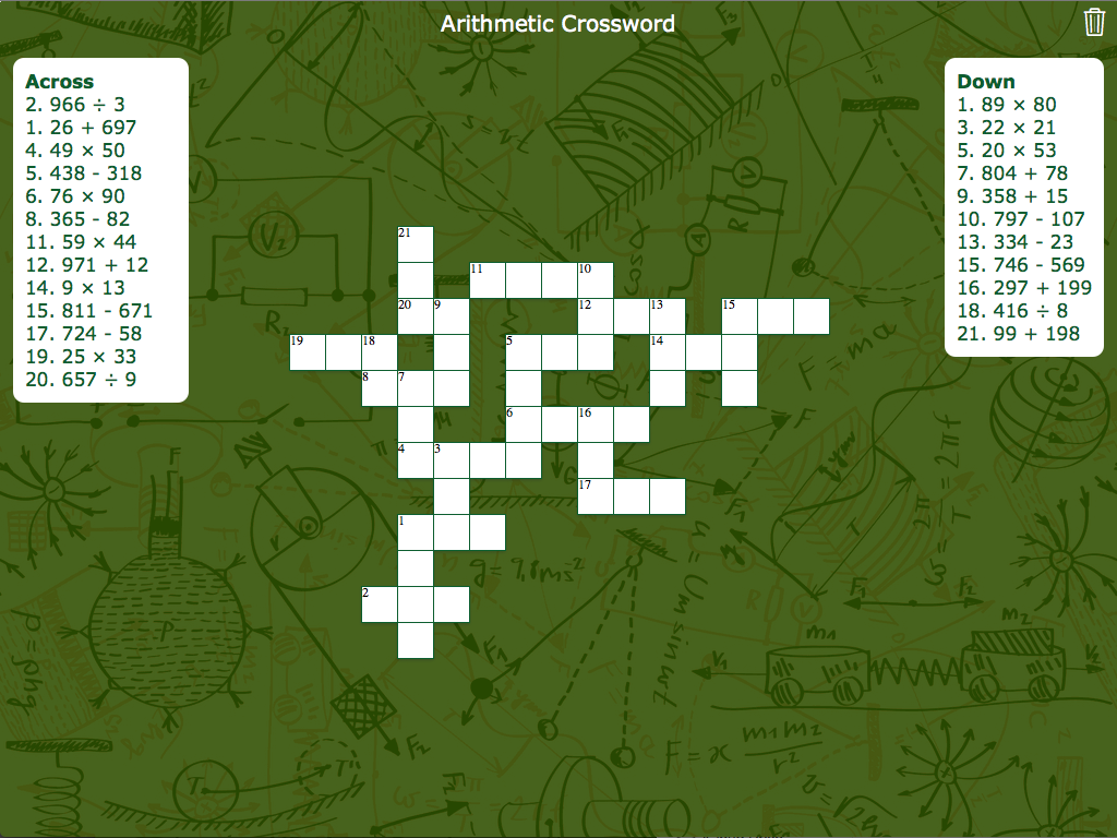 Math Arithmetic Crossword