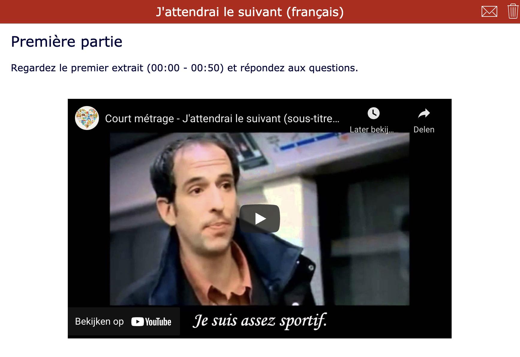Short films - J'attendrai le suivant - French listening comprehension
