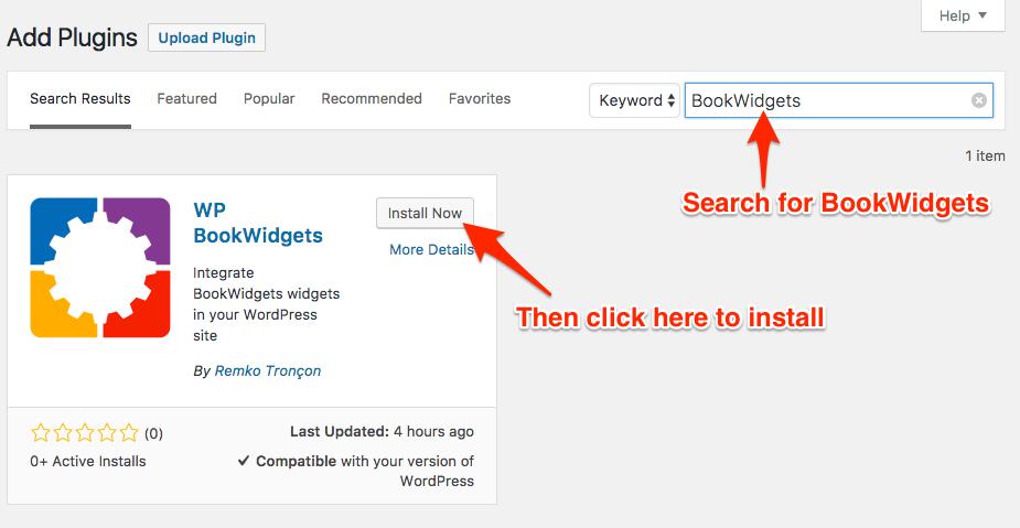 Installing the BookWidgets WordPress plugin
