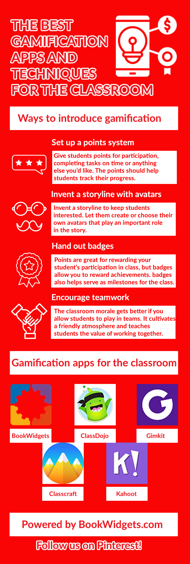 Gamification apps and techniques for education
