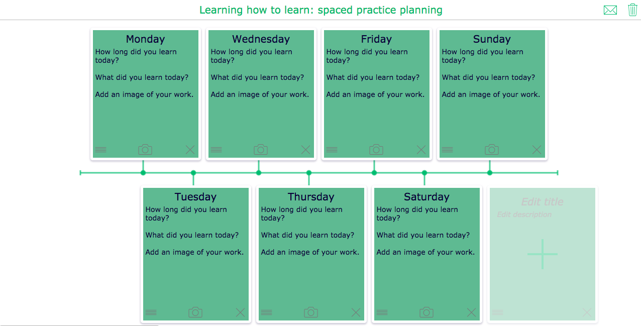 Spaced practice timeline widget