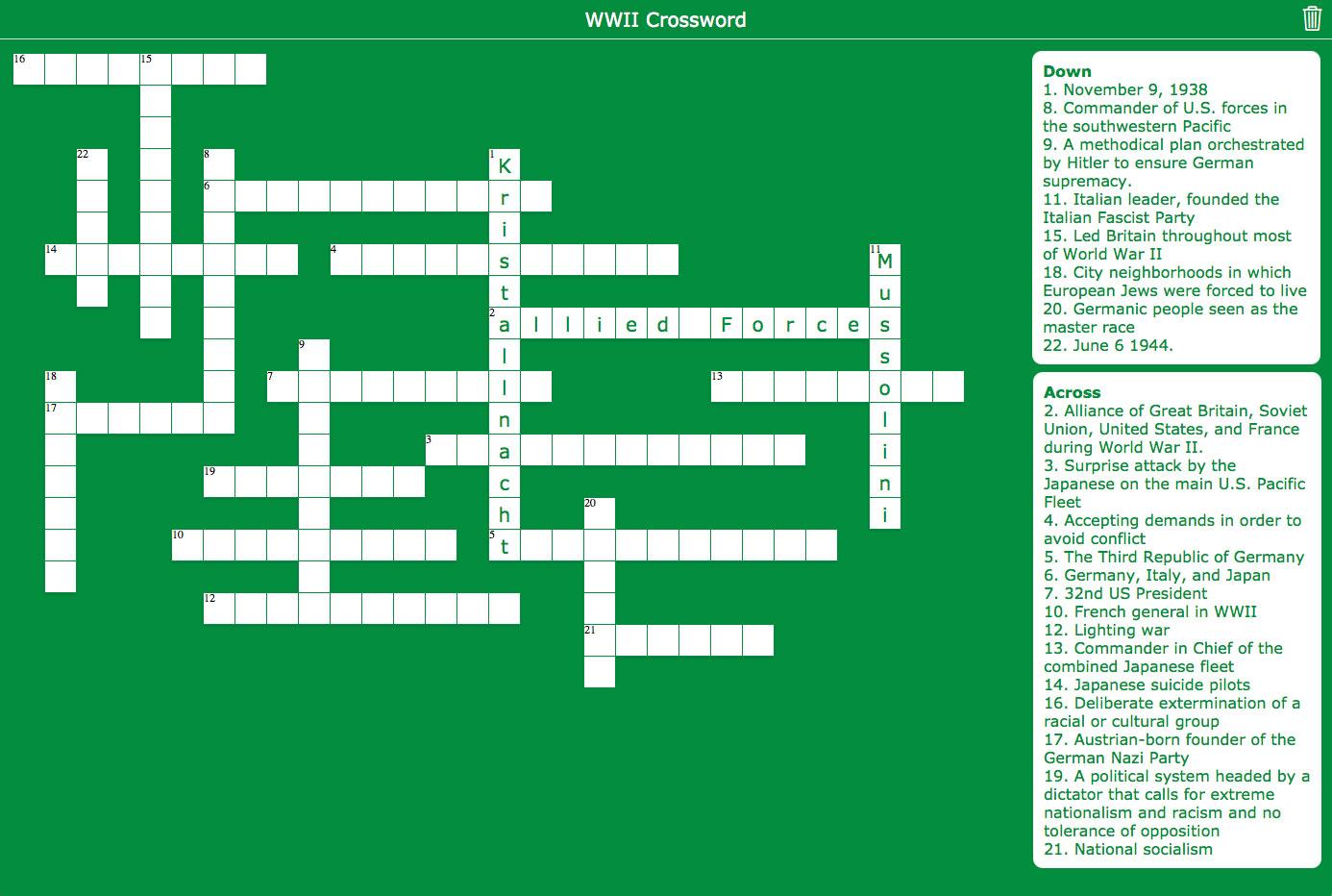 crossword widget