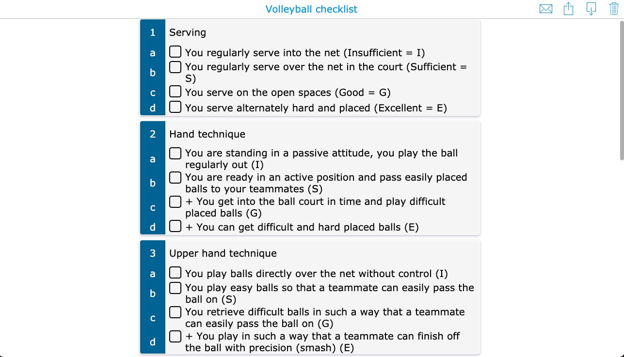 Volleyball evaluation checklist PE lesson