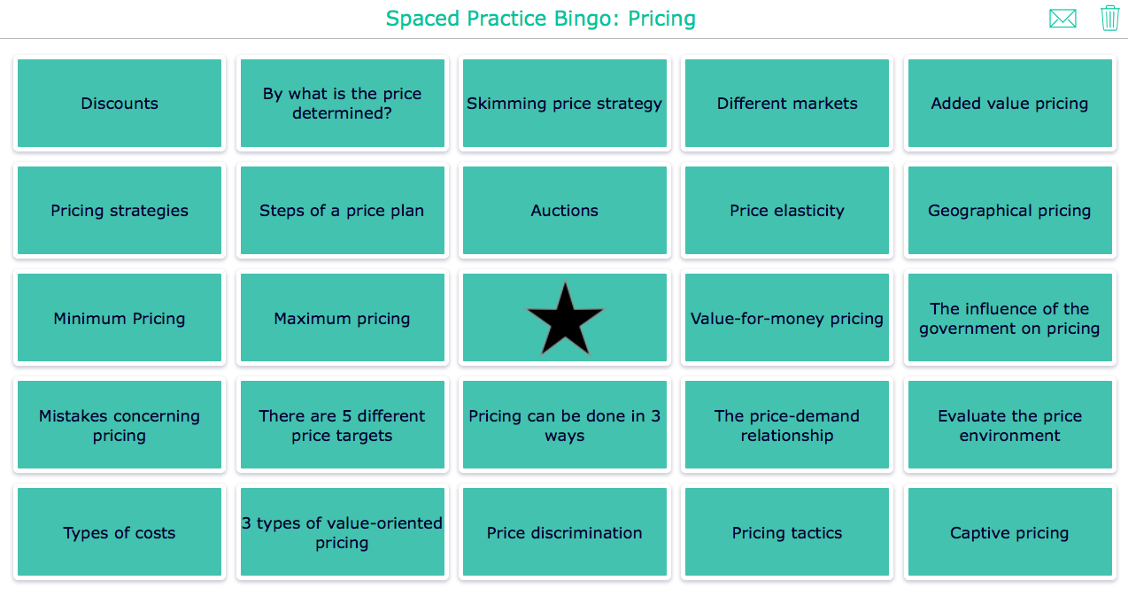 Spaced practice bingo widget