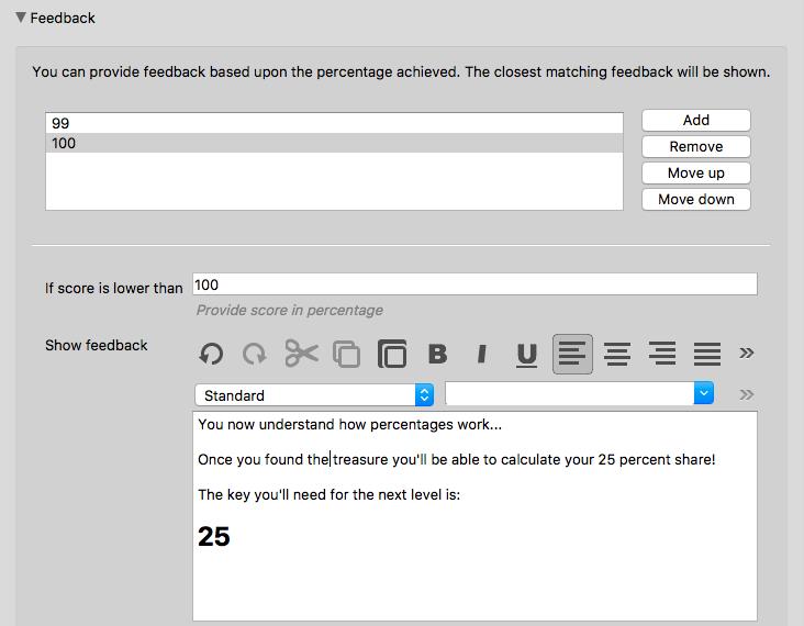 Quiz feedback configuration