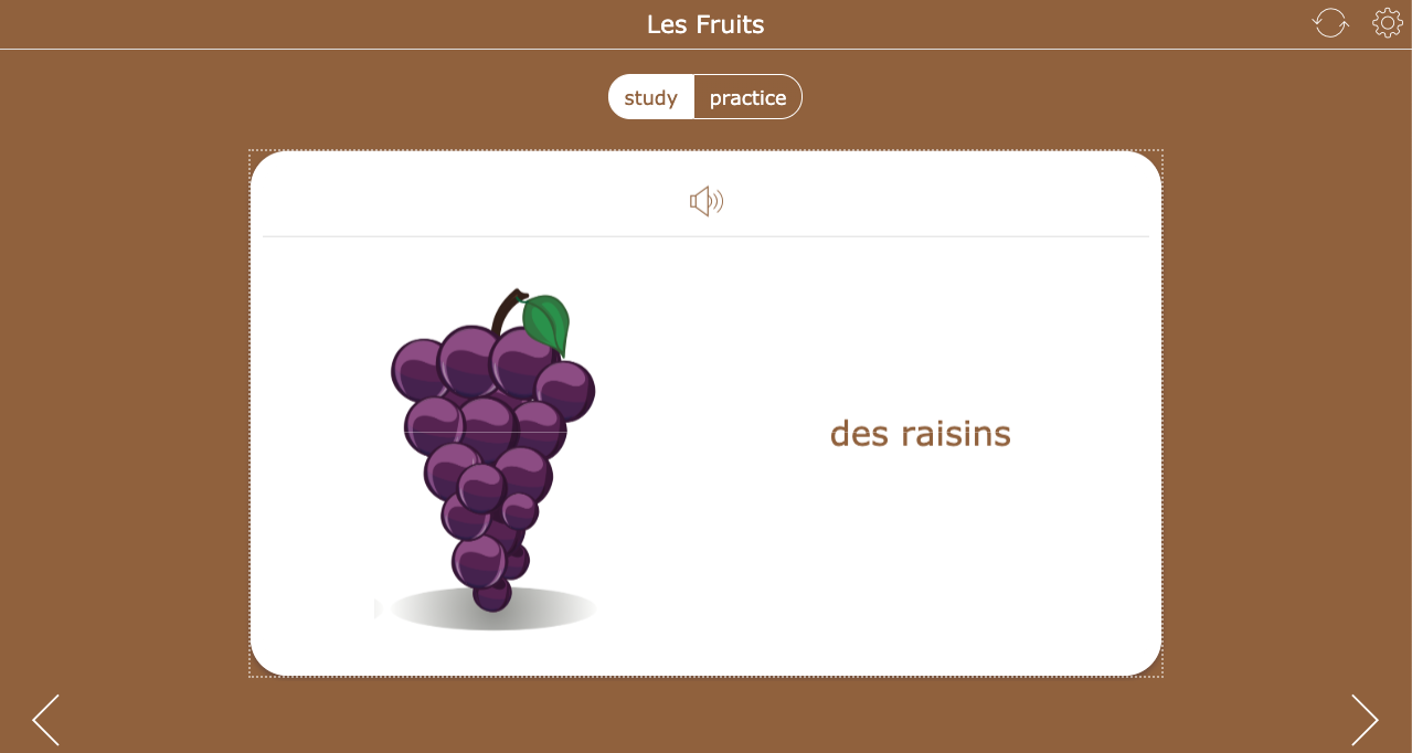 Teaching fruits in french - flashcards