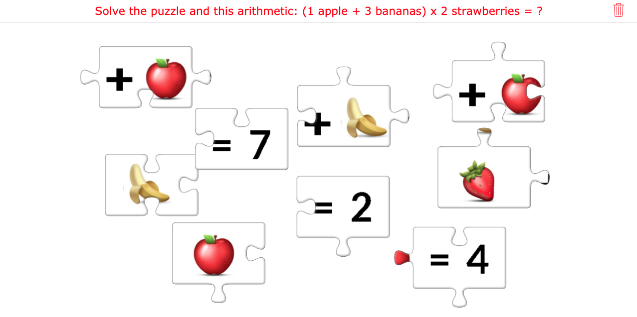 Arithmetic jigsaw puzzle