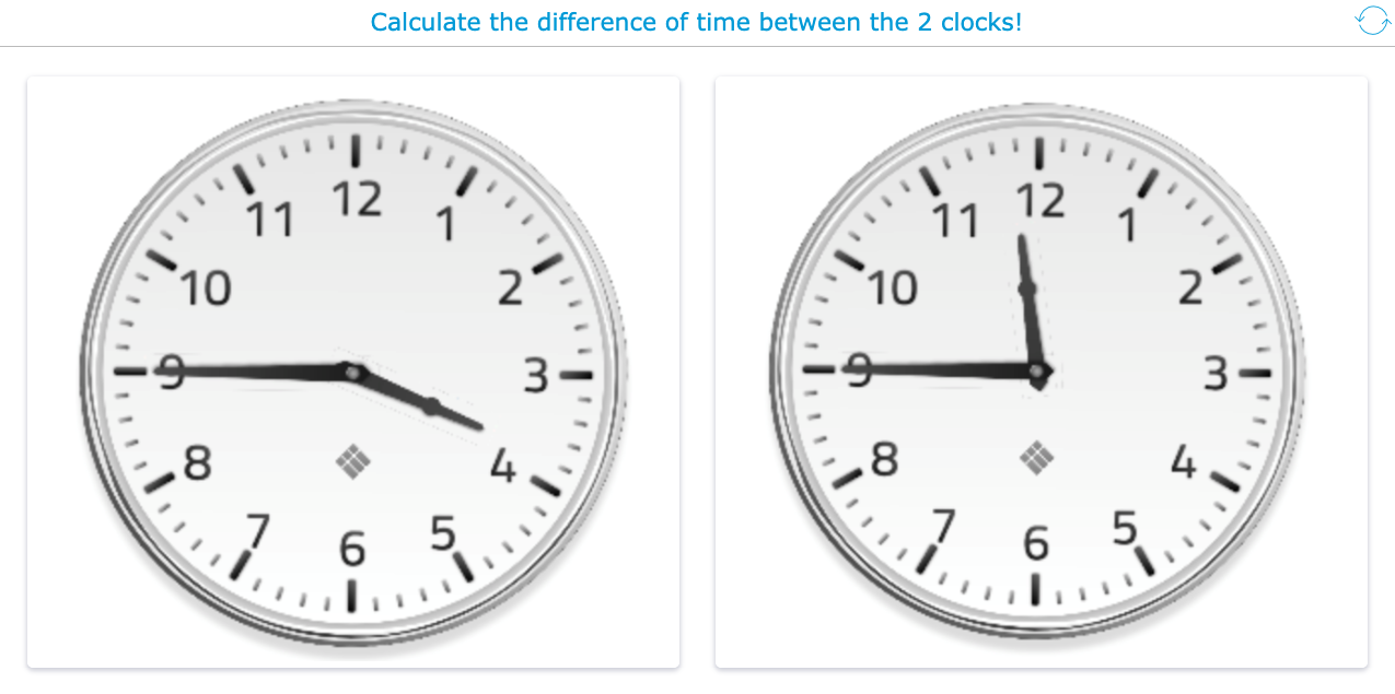 Clock reading lesson for primary school