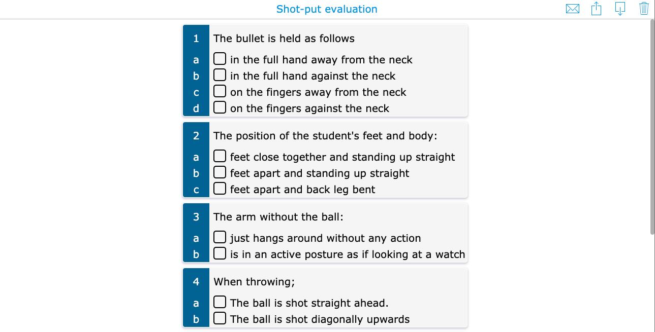 PE lesson evaluation checklist shotput