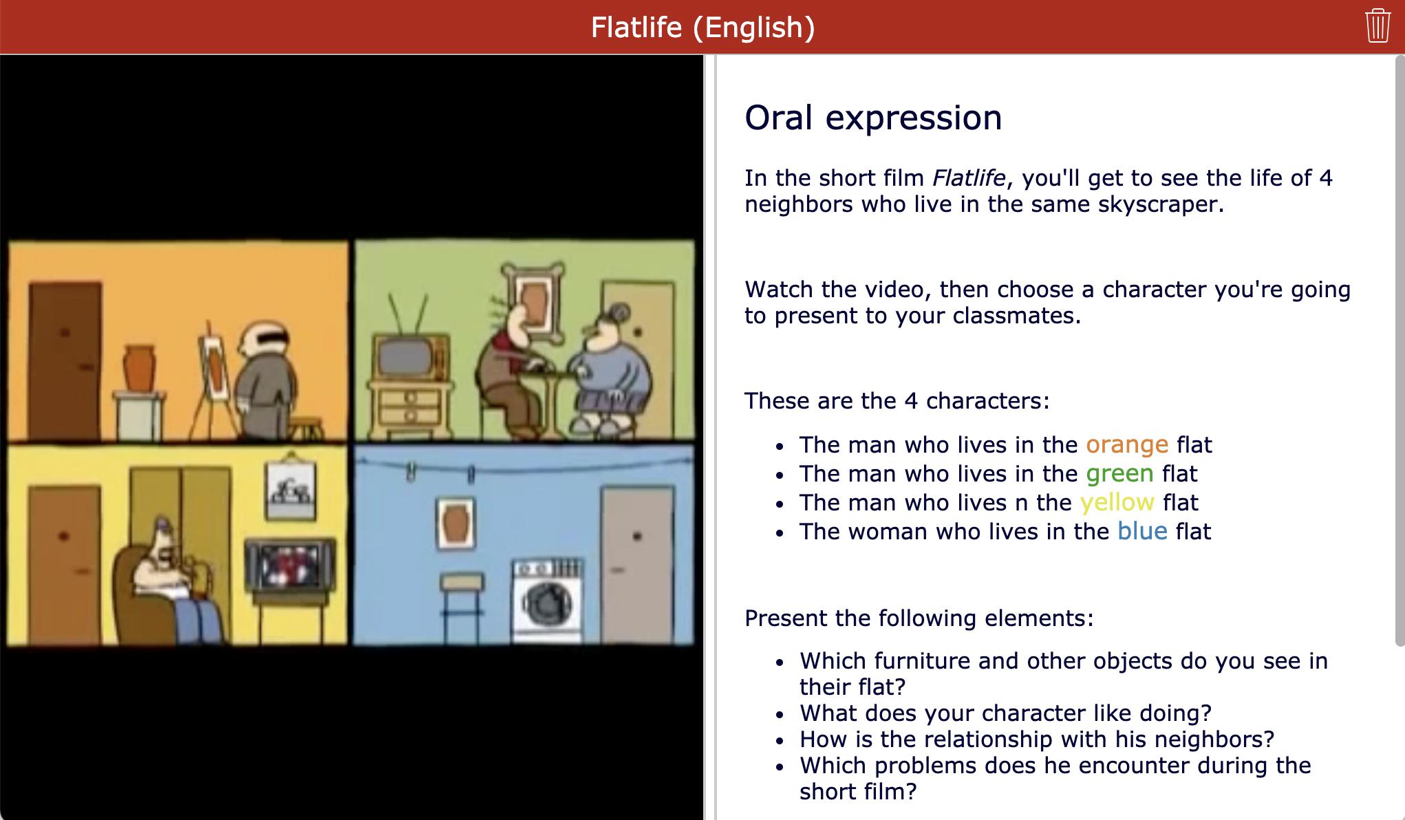 Short film - Flatlife - Oral expression lesson activity