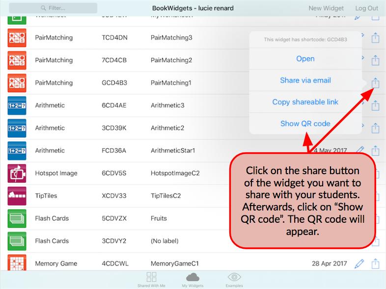 QR codes in BookWidgets
