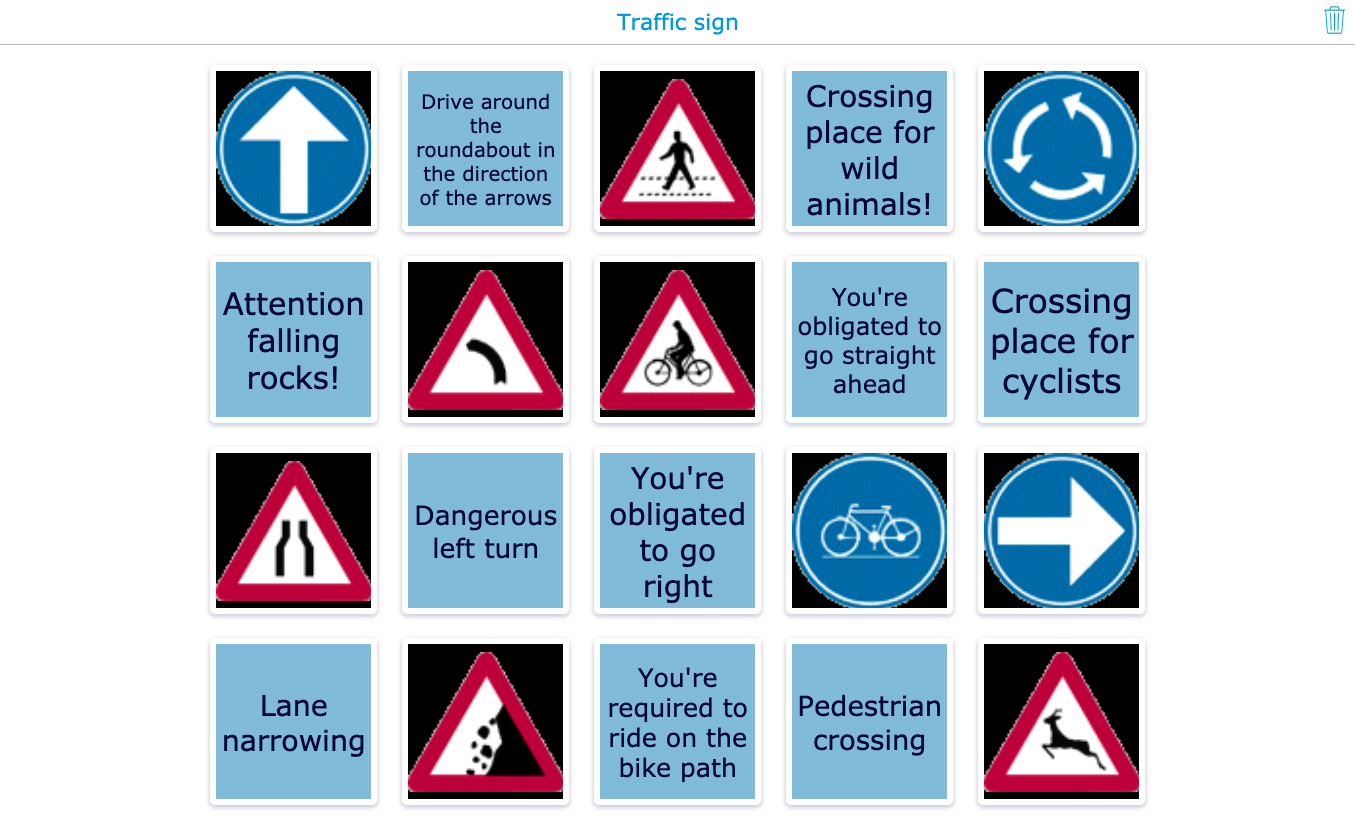 Traffic signs pair matching primary school