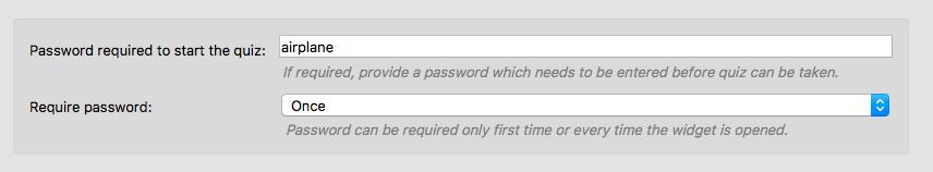 Startup password configuration