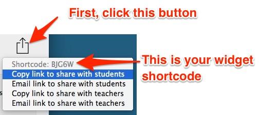Finding a widget shortcode in the BookWidgets desktop tool