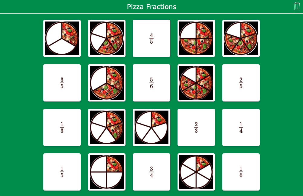 Pizza fractions for primary school - Pair Matching