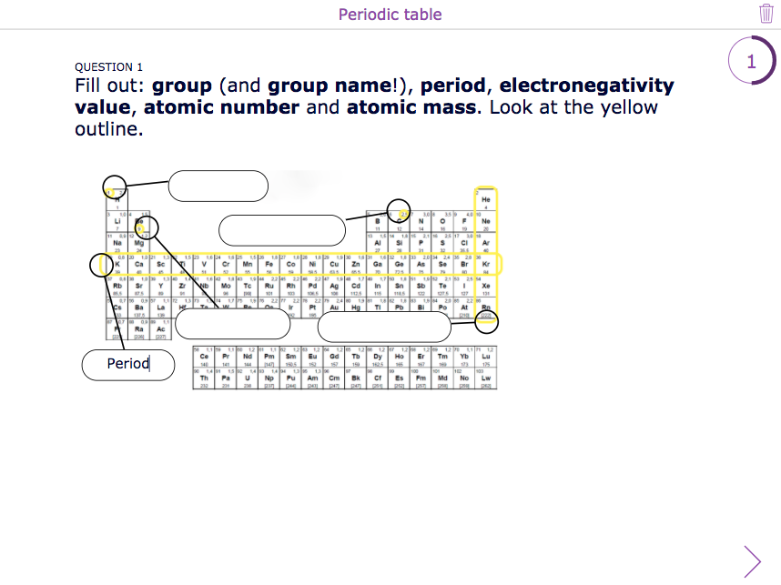 Chemistry periodic table quiz with BookWidgets