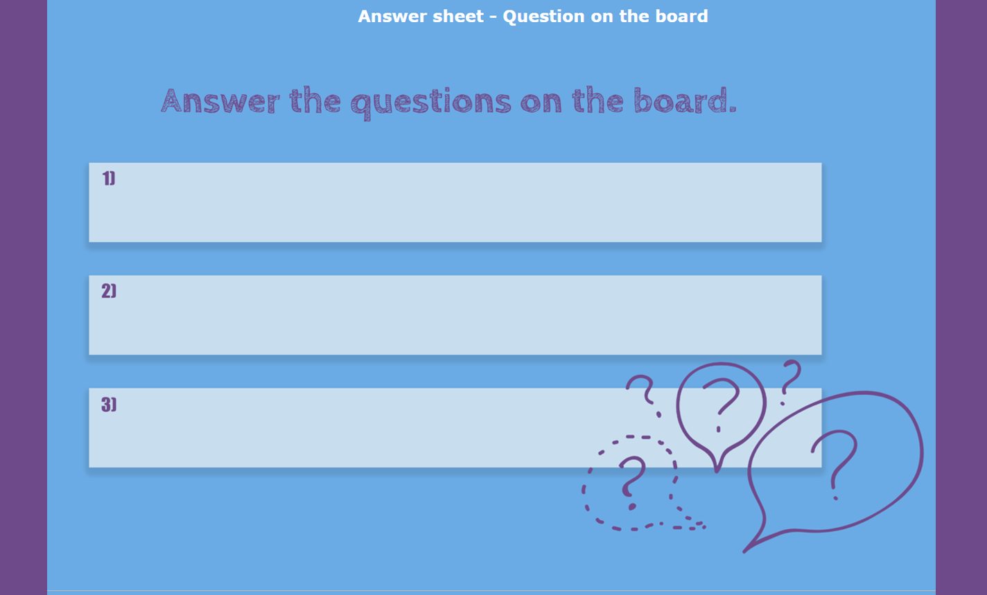 digital exit ticket - Questions on the board