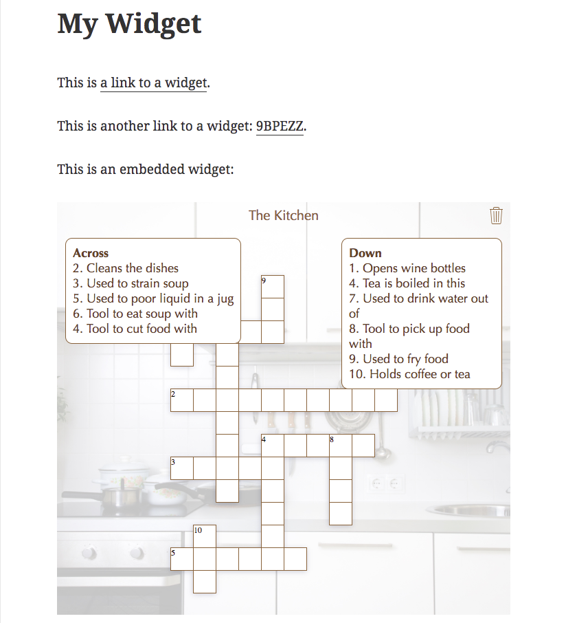 BookWidgets widget embedded into a WordPress page