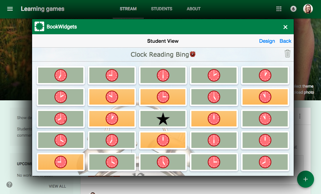 Learning game bingo in Google Classroom