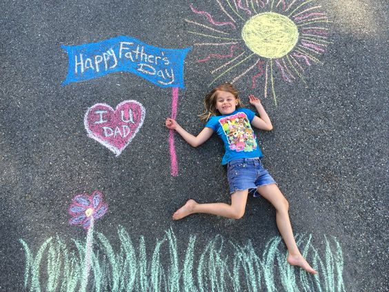 father's day chalk art card