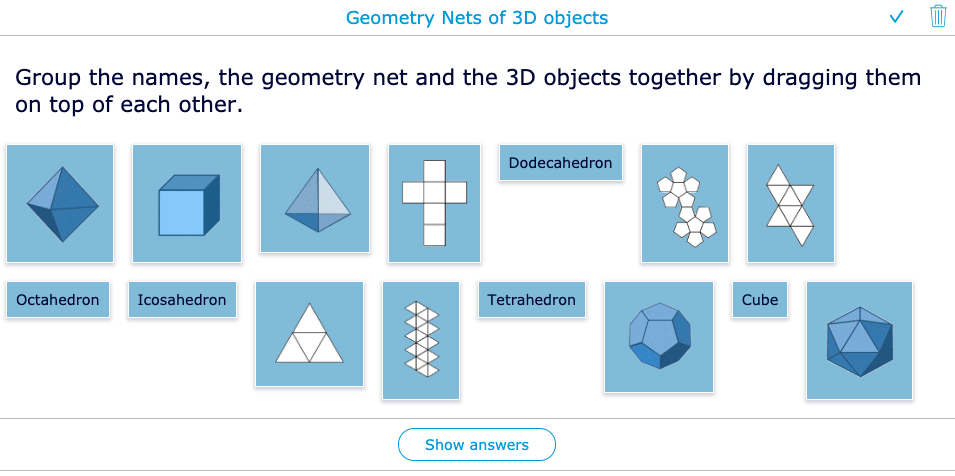 Geometry Nets of 3D objects - Lesson example