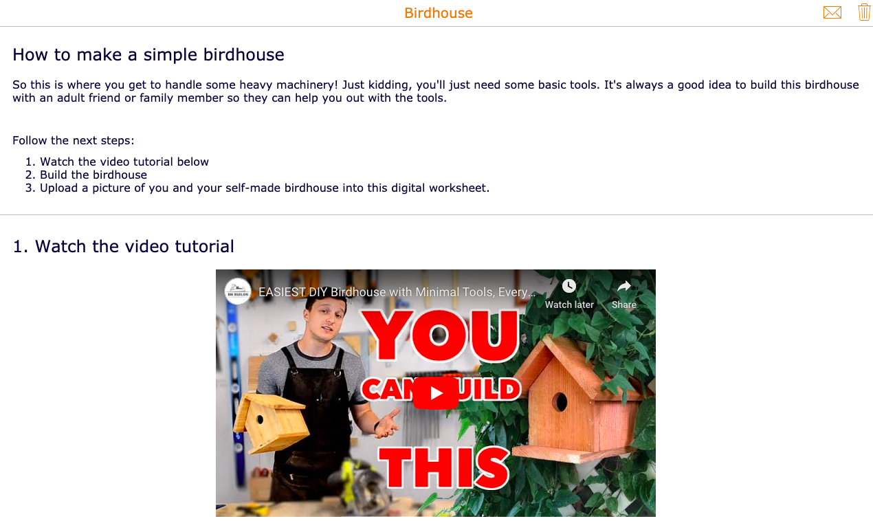 How to build a birdhouse with students