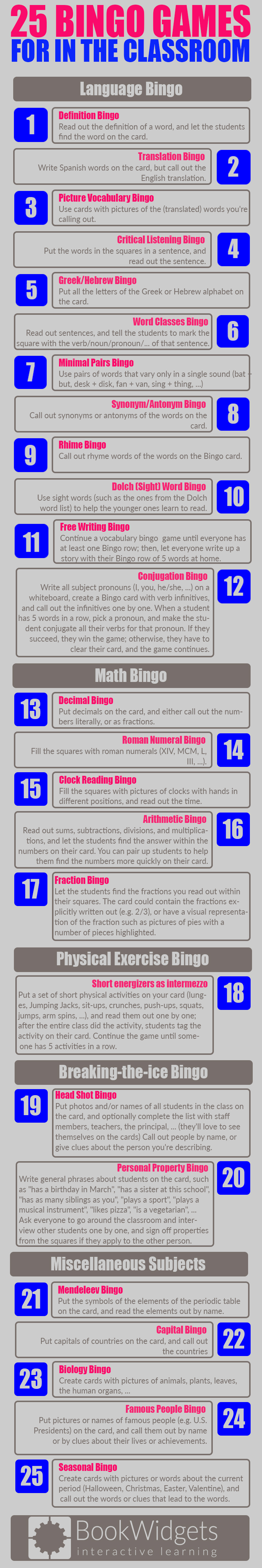 25 bingo games for in the classroom