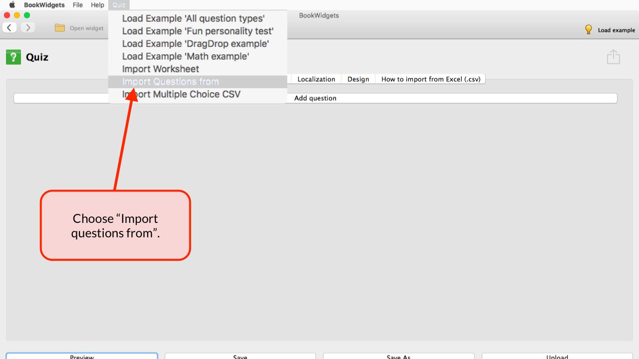 Bookwidgets Tutorials Test Review Quiz Importing Questions