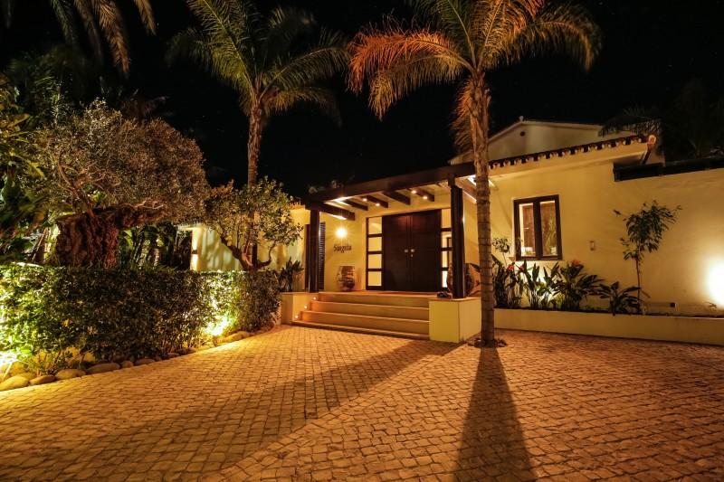 Entrance villa at night