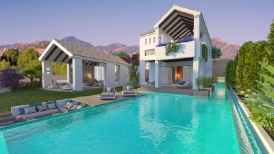 New Development Estepona - 11 Luxury detached villas, front line golf with sea view